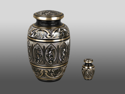 Black And Gold Brass With Token Adult Cremation Urn