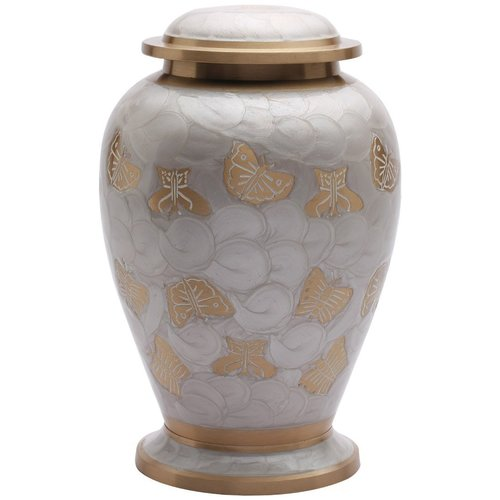 Butterflies Pearl White Adult Cremation Urn