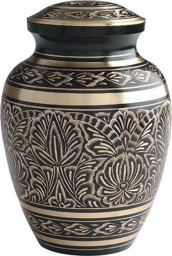 Adult Black And Golden Cremation Urn