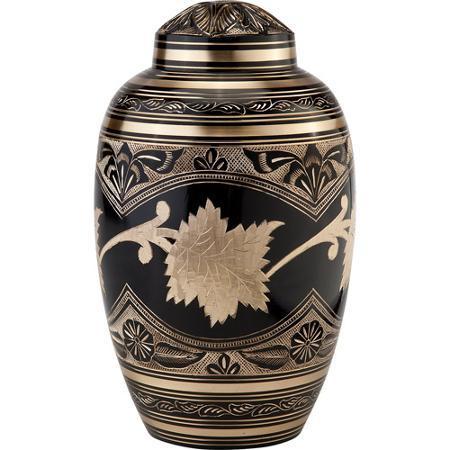 Black Toledo Brass Metal Cremation Urn