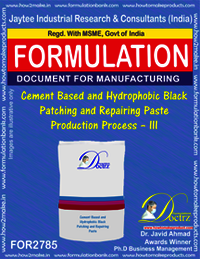 Cement Based And Hydrophobic Black Patching and Repairing Paste Production Process – III
