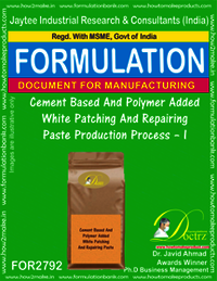 Cement Based And Polymer Added White Patching And Repairing Paste Production Process – I