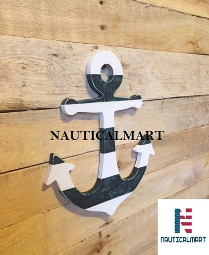 NauticalMart Wooden Ship Anchor, Hand Drawn, Hand Scrolled, Nautical, Sailing, beach decor