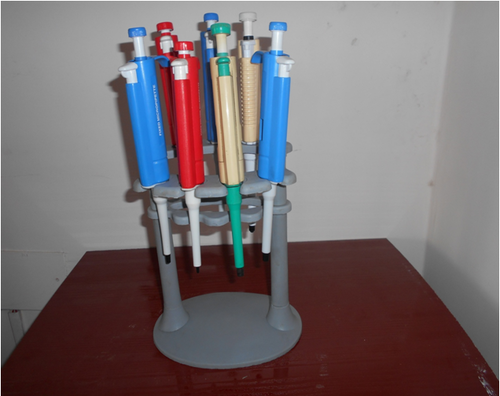 Micro pipette stand round with pipette