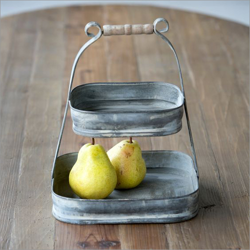 Two Tier Galvanized Tray with Antique Finish