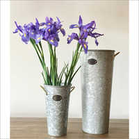 Galvanized planters with natural finish