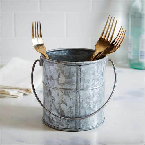 Galvanized Utensil Caddy Bucket