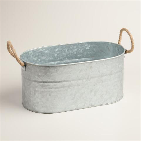 Galvanized Oval Shape Bucket with Rope Handle