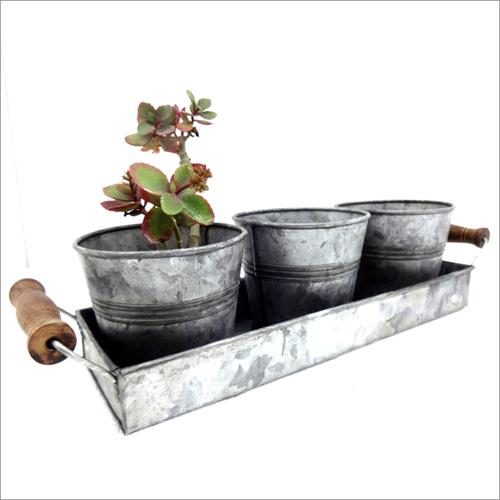 Galvanized Succulent Pots