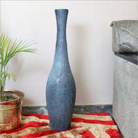 Terracotta Rustic Flower Vase with Gray and Black