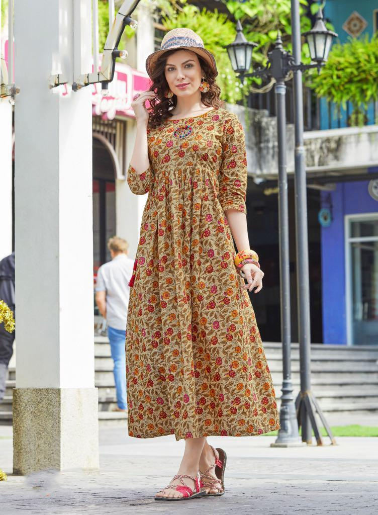 Designer Long Rayon Gown Kurta