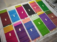 Pure Silk Handloom Dupion Silk Saree Plain