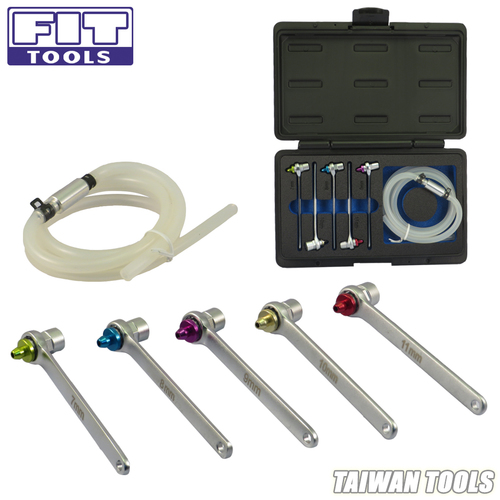 FIT TOOLS Mini 7,8,9,10,11mm Brake Fluid Clutch Bleeder Hosewith12 Point Wrench and Check Valve