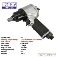 """FIT TOOLS Mini 1/2"""" Dr. Lightweight Air Impact Wrench (Jumbo Hammer)"""