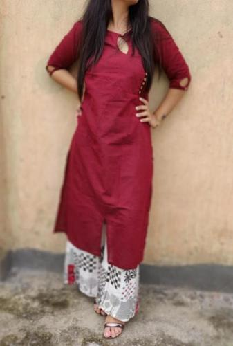 Ladies Cotton Slub Designer Printed Kurti