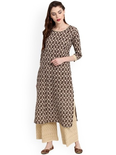 Cotton Slub Printed Kurti With Golden Print
