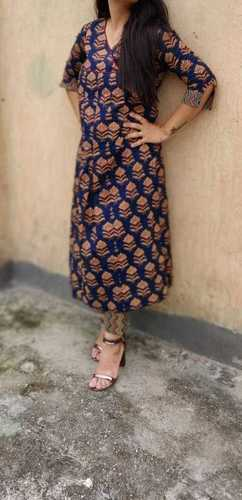 Rayon kurti With Golden Border