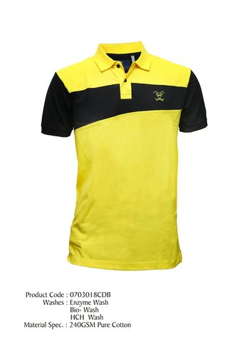 Yellow And Black Mens Polo T Shirts