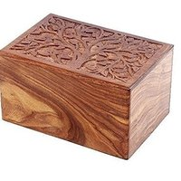 Carved Wooden Pet Urns