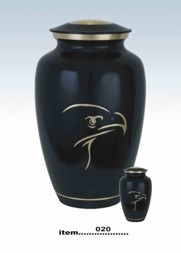 Brass Urn With Eagle Print