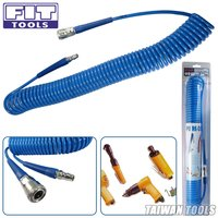 FIT TOOLS 9M PU Recoil Air/Pneumatic Hose w/ Male&Female larger iron Quick Coupler(5x8x9M)