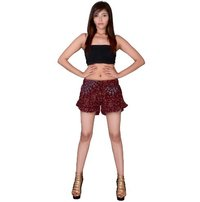 Rayon Mandala Print Maroon Color Beach Resort Wear Shorts