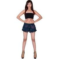 Rayon Hand Block Mandala Print Blue Women Resort Wear Shorts