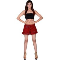 Rayon Mandala Beach Resort Wear Red Shorts
