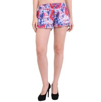 Rayon Solid Women Tie Dye Blue Shorts