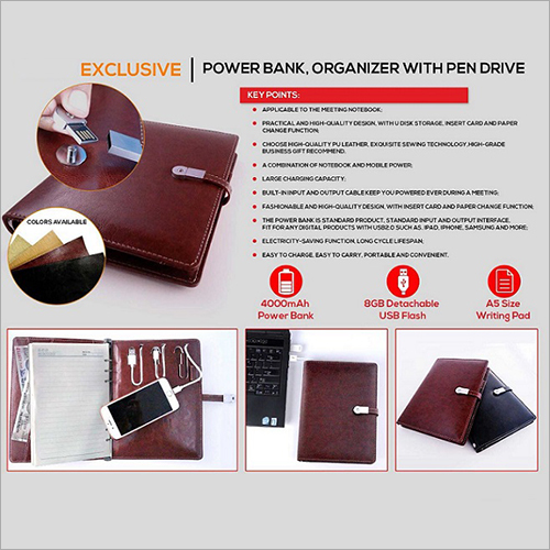 Power Bank Diary With Pen Drive