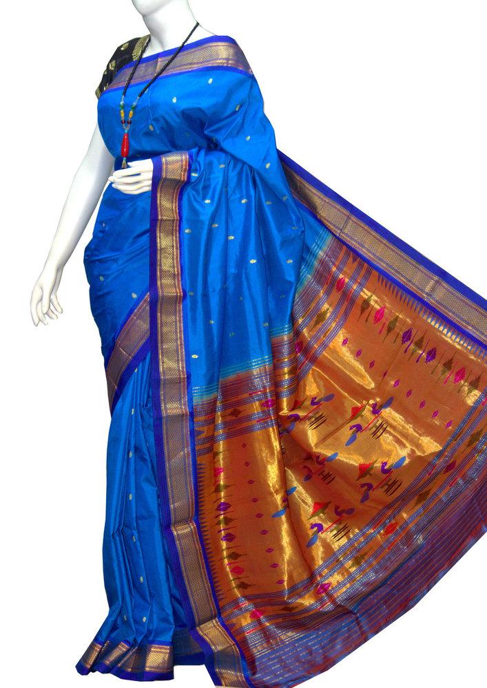 Sky Blue Double Pallu Yeola Paithani