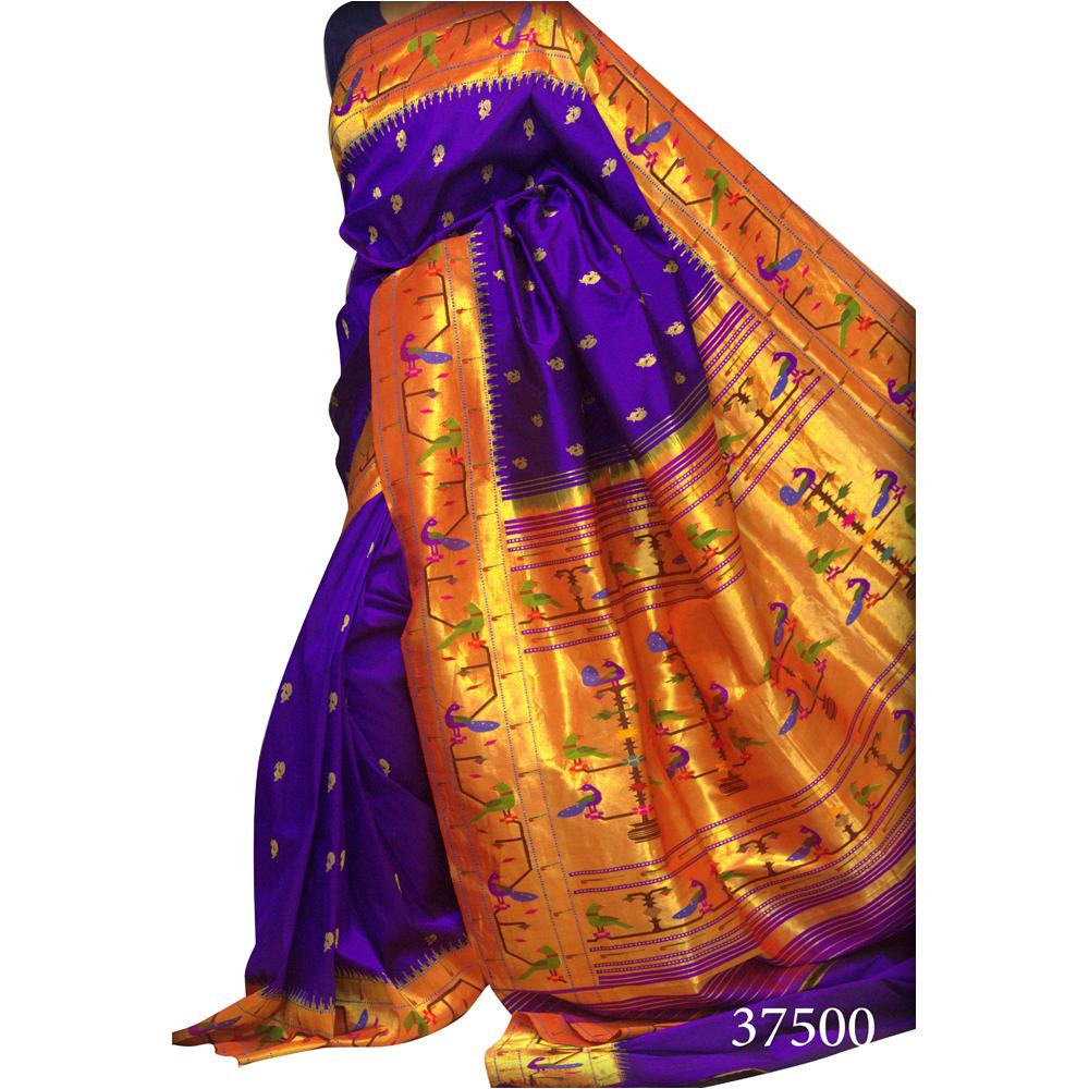 Purple Brocade Paithani Saree
