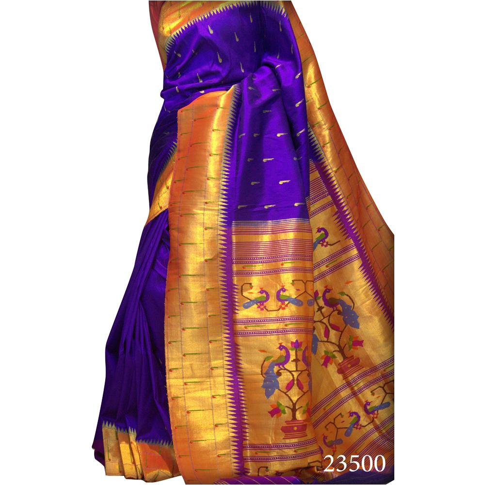 Purple Triple Muniya Brocade Paithani Saree
