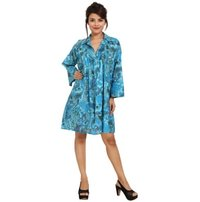 Cotton Printed Fullsleeve Casual Turquoise Dress