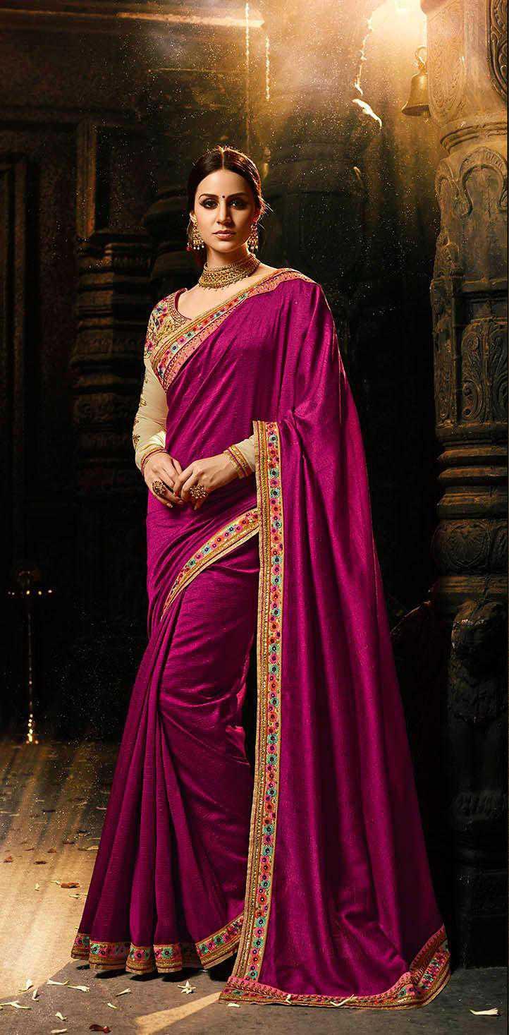 Pink Stylish Embroidered Saree