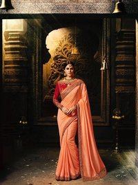 Pink Stylish Embroidered Saree
