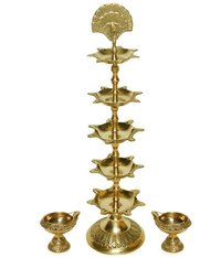 Large Brass Polished Kerala Pooja Deep