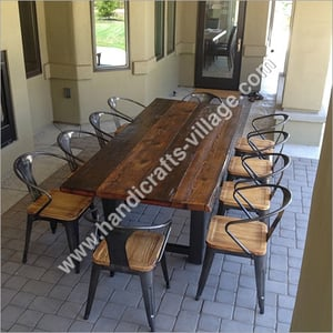 Metal Dining Set With Wooden