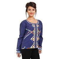 Embroidery Cotton Party Wear Blue Jacket