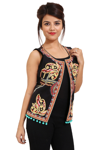 Embroidery Cotton Party Wear Black Jacket