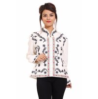 Cotton Embroidery Full Sleeve Party Wear White Jacket
