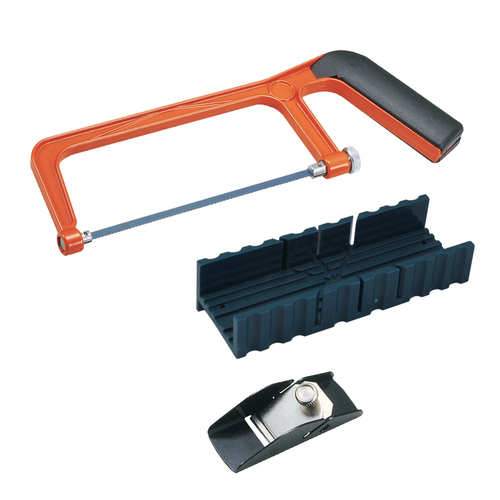 FIT TOOLS Hand Saw and Plastic Miter / Mitre Box with Trimming Planer Kit