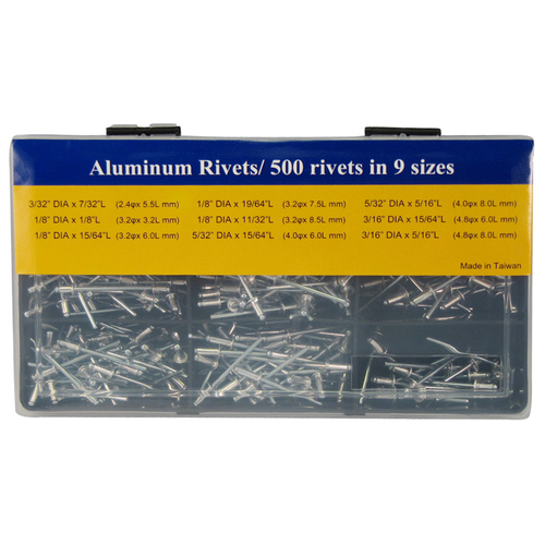 FIT TOOLS Aluminum 500 pcs Rivets Assortment 1/8