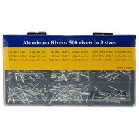FIT TOOLS Aluminum 500 pcs Rivets Assortment 1/8