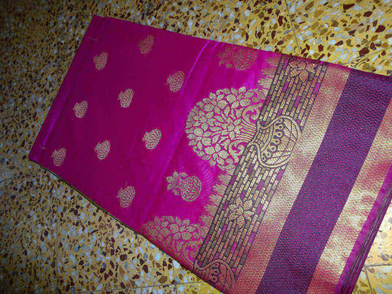 Exclusive Black Raw Silk Saree Floral Zari Butta