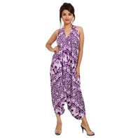 Rayon Elephant Print Purle Jumpsuit
