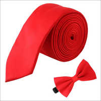 Red Polyester Satin Tie