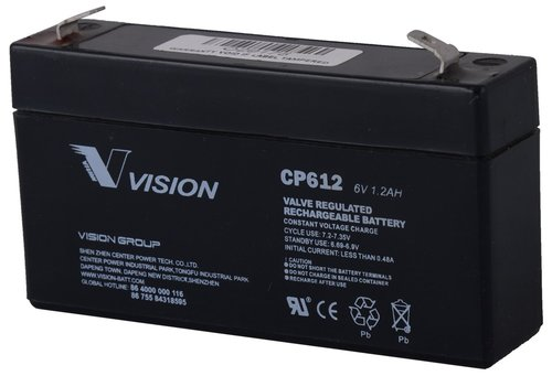 Vision 6V, 1.2AH Sealed Lead Acid Battery, CP-612