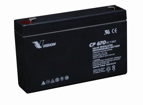 Vision 6V, 7AH Sealed Lead Acid Battery, CP-670