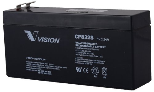 Vision 8V, 3.2AH Sealed Lead Acid Battery, CP-832S